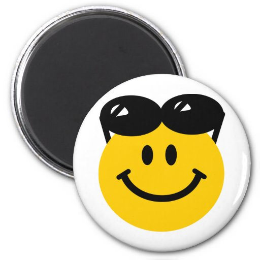 Sunglasses perched on top of head smiley face 2 inch round magnet