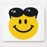 Sunglasses perched on top of head smiley face mouse pad