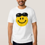 Sunglasses perched on top of head smiley face t-shirt