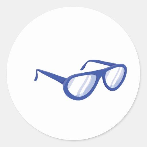 sunglasses.png azul pegatina redonda