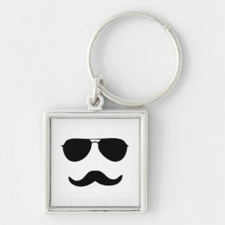 Sunglasses Silver-Colored Square Keychain