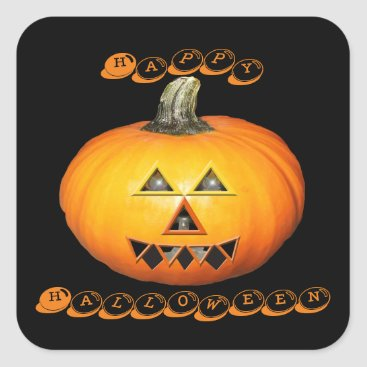 Halloween Themed Sunglow Pumpkin Happy Halloween Square Sticker