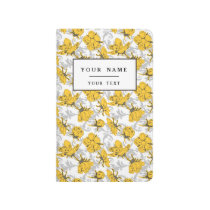 Sunglow Yellow and Gray Vintage Floral Pattern Journal