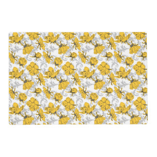 Sunglow Yellow and Gray Vintage Floral Pattern Laminated Placemat