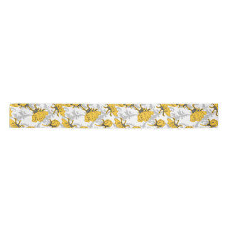 Sunglow Yellow and Gray Vintage Floral Pattern Satin Ribbon