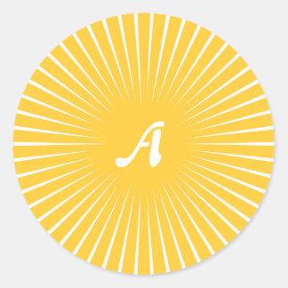 Sunglow Yellow and White Sunrays Monogram Sticker