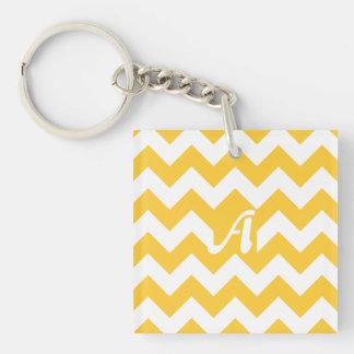 Sunglow Yellow and White Zigzag Monogram Keychain