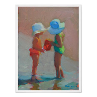 Sunhat Sisters - Two Girls at the Beach Poster