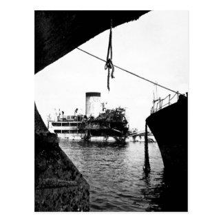 Sunken Japanese ships in Manila_War Image Postcard
