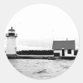 Sunken Rock Lighthouse Classic Round Sticker