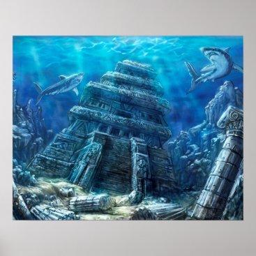 Ocean Themed Sunken Temple Poster