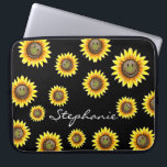 "Sunkissed Smiling Sunflower Computer Sleeve<br><div class=""desc"">Sunny things up with this cute smiling sunflower.  This design features a funny smiling sunflower or flowers with a brown center and the classic bright yellow petals.  An adorable item for anyone who loves bright flowers or girly floral patterns,  or a classic nature lover.</div>"