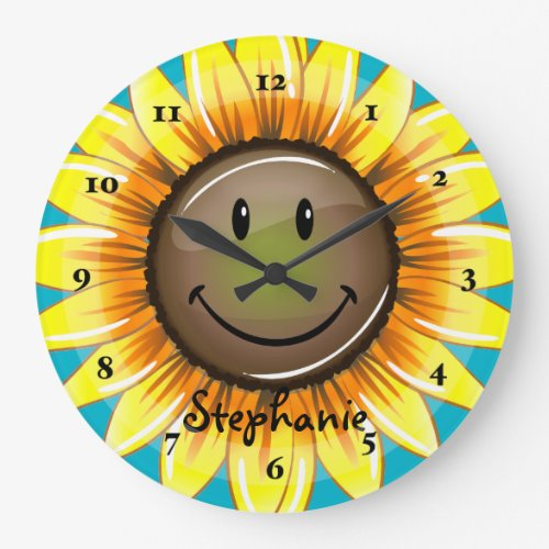 Sunkissed Smiling Sunflower Large Clock