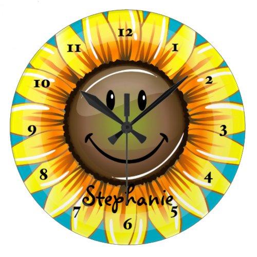 Sunkissed Smiling Sunflower Large Clock
