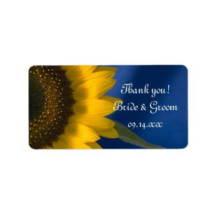 Sunlfower on Blue Wedding Thank You Label