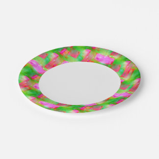 Sunlight abstract painted yellow, pink 7 inch paper plate