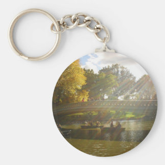 Sunlight and Boats, Bow Bridge, Central Park Keychain