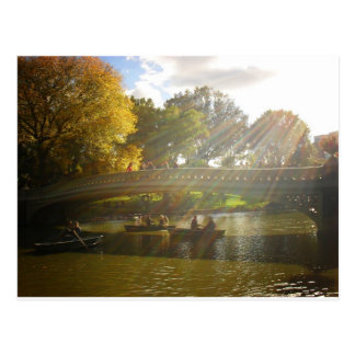 Sunlight and Boats, Bow Bridge, Central Park Postcard