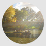 Sunlight and Boats, Bow Bridge, Central Park Round Stickers