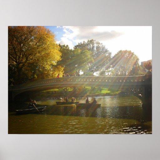 Sunlight and Boats, Bow Bridge, Medium Poster