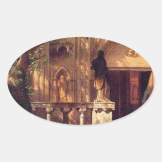 Sunlight and Shadow by Albert Bierstadt Oval Sticker
