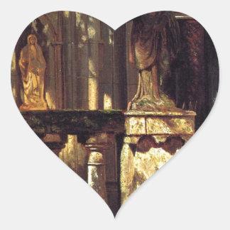 Sunlight and Shadow Study by Albert Bierstadt Heart Sticker