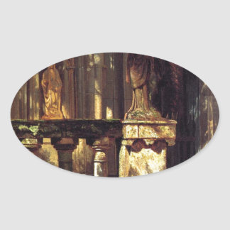 Sunlight and Shadow Study by Albert Bierstadt Oval Sticker