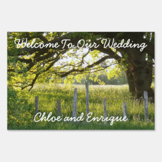 Sunlight And Trees Personalized Wedding Lawn Sign