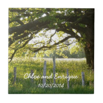 Sunlight And Trees Personalized Wedding Tile
