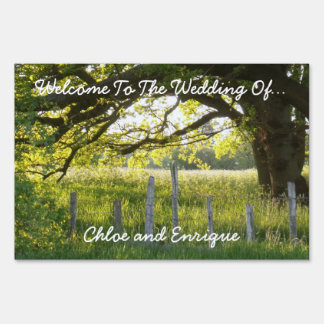 Sunlight And Trees Personalized Wedding Yard Sign