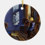Sunlight in the blue room art by Anna Ancher Christmas Ornaments