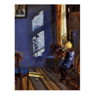 Sunlight in the blue room art by Anna Ancher Postcard