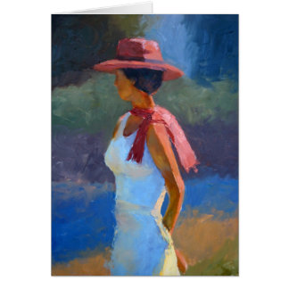 Sunlight on lady in hat greeting card