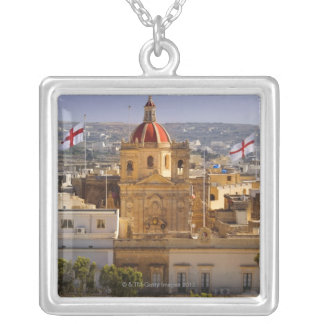 Sunlight on the church in the town of Victoria Silver Plated Necklace