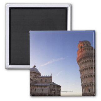 Sunlight on the top of the Leaning Tower of Pisa 2 Inch Square Magnet