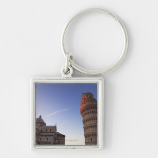 Sunlight on the top of the Leaning Tower of Pisa Silver-Colored Square Keychain