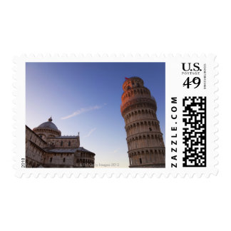 Sunlight on the top of the Leaning Tower of Pisa Postage Stamp