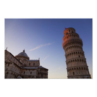 Sunlight on the top of the Leaning Tower of Pisa Poster