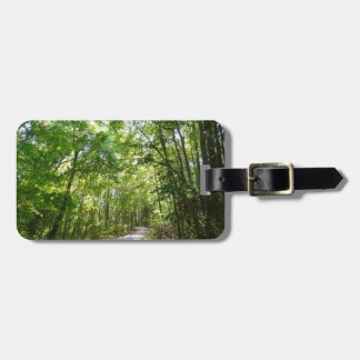 Sunlight on Wooded Path Columbia Maryland Photo Bag Tag