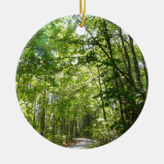Sunlight on Wooded Path Columbia Maryland Photo Ceramic Ornament