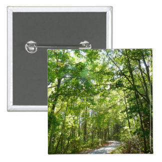 Sunlight on Wooded Path Columbia Maryland Photo Pinback Button