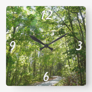 Sunlight on Wooded Path Columbia Maryland Photo Square Wall Clock