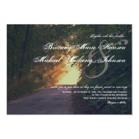 Sunlight Path of Trees Country Wedding Invitations 4.5