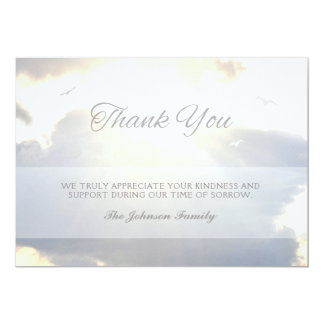 Sunlight Streams & Clouds Thank You Photo Memorial Card