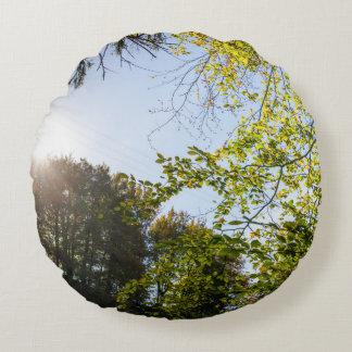 Sunlight Through Green Autumn Leaves Round Pillow
