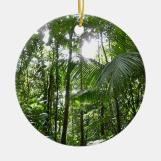 Sunlight Through Rainforest Canopy Tropical Green Ceramic Ornament