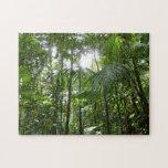 Sunlight Through Rainforest Canopy Tropical Green Jigsaw Puzzle
