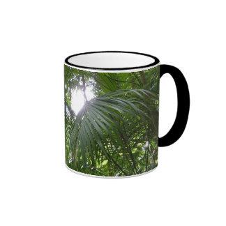 Sunlight Through Rainforest Canopy Tropical Green Ringer Mug