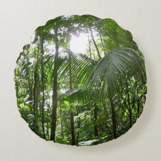 Sunlight Through Rainforest Canopy Tropical Green Round Pillow