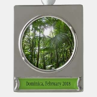 Sunlight Through Rainforest Canopy Tropical Green Silver Plated Banner Ornament
